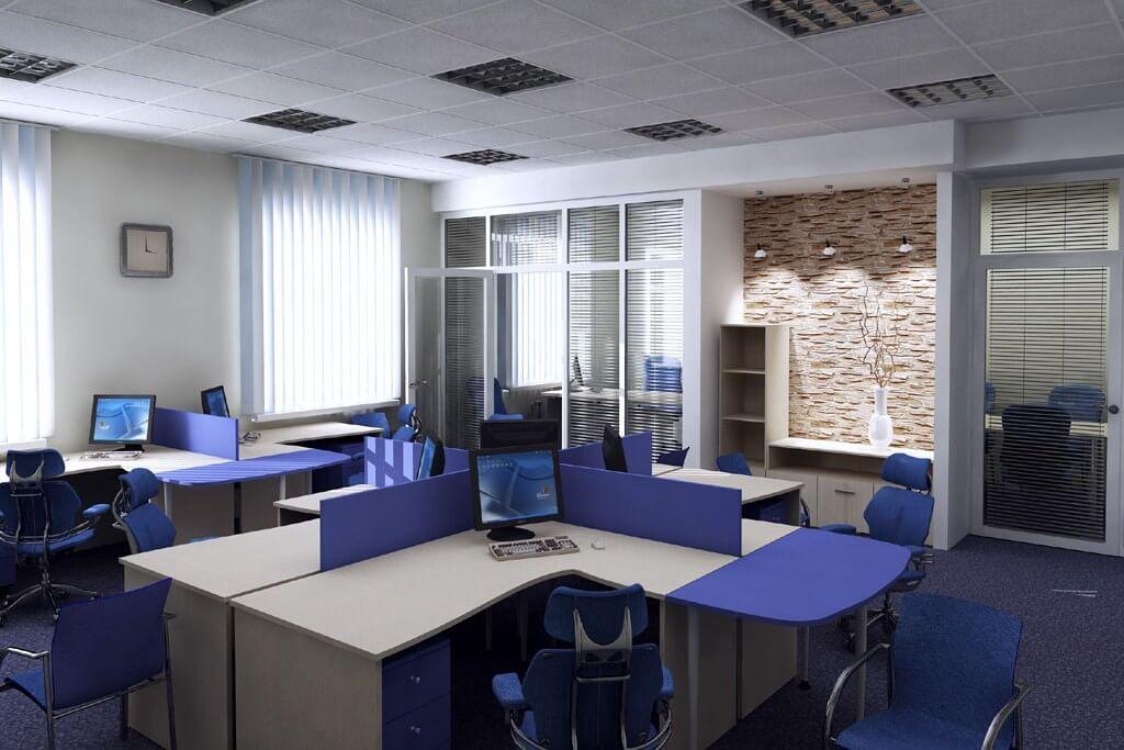 Перепланировка офиса в современном стиле (фото)